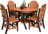 "Poly Lumber Patio Furniture Set Including 1 Round Table (44"") and 4 Chairs in Weathered Wood & Patriot Blue - Amish Made in USA"