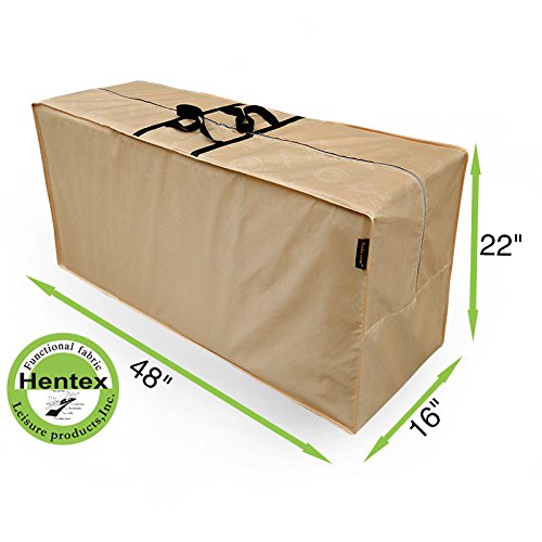 """Hentex Cover 5509 Patio Seat Cushion & Cover Storage Bag, Water Resistant, Breathable, Scratch-free Soft Interior, Advanced Functional 3-layered Fabric, 3 Year Warranty (48""""L16""""W22""""H)"""