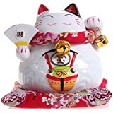 5.5 Inch Hand Painted Ceramic Maneki Neko Money Lucky Cat Chinese Japanese Statue Feng Shui Cat Ornament for Wealth and Fortune