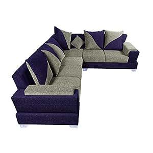 zikra 39 s purple sal wood 6 seater l shaped sofa set for. Black Bedroom Furniture Sets. Home Design Ideas