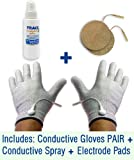 Conductive Gloves Package for TENS Electrode Pain Treatment & Diabetes, Neuropathy, Carpal Tunnel, Arthritis Electrotherapy (1 PAIR - Silver Thread) (Large)