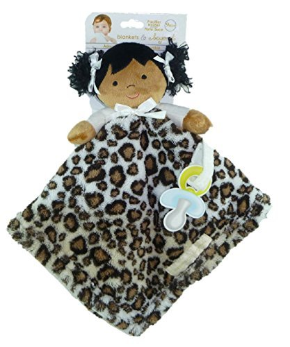 Plush Doll Security Blanket with Pacifier Holder - Black Hair