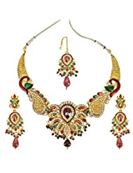 Peacock Splendor - Traditional Red & Green Polki Set Gold Plated Fasihon Jewellery Set