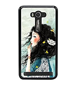 Fuson Premium 2D Back Case Cover Cute hairy girl With Purple Background Degined For Asus Zenfone 2 Laser ZE550KL::Asus Zenfone 2 Laser ZE550KL (5.5 Inches)