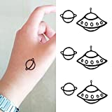 Oottati Small Cute Temporary Tattoo Ufo Planet (2 Sheets)