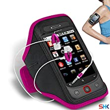 buy Plum Wicked Hot Pink + Earphone Adjustable Armband Sport Gym Bike Cycle Running Jogging Sports Case Cover Holder Pouch (Aa) With Premium Quality In Ear Buds Stereo Hands Free Headphones Headset With Built In Microphone Mic And On-Off By Shukan®