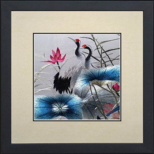 King Silk Art 100% Handmade Embroidery Multiple Framed Two Japanese Red Crowned Cranes Oriental Wall Hanging Art Asian Decoration Tapestry Artwork Picture Gifts 31126_31126WFB1 (Crane Pictures compare prices)