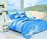 Cozy Beddings Dolphin Print 100-Percent Cotton 5-Piece Duvet Cover Set, Full