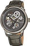 Akribos XXIV Men's AK538GY Mechanical Skeleton Leather Strap Watch