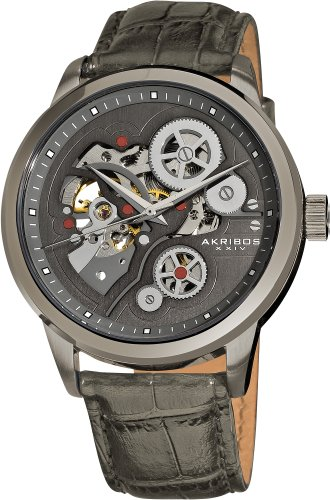 Akribos XXIV Men's Mechanical Skeleton Watch with Grey Dial Analogue Display and Grey Leather Strap AK538GY