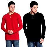 Lemon & Vodka Combo Pack Of 2 Henley Mens Solid Tshirt-CMB-16