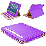 """MOFRED® Purple & Tan Apple iPad Air 2 (Launched Oct. 2014) Leather Case-MOFRED®- Executive Multi Function Leather Standby Case for Apple New iPad Air 2 with Built-in magnet for Sleep & Awake Feature -- Independently Voted by """"The Daily Telegraph"""" as #1 iPad Air 2 Case!"""