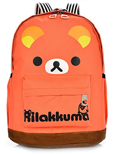 Small Bear Cartoon Canvas Double Shoulders Backpack