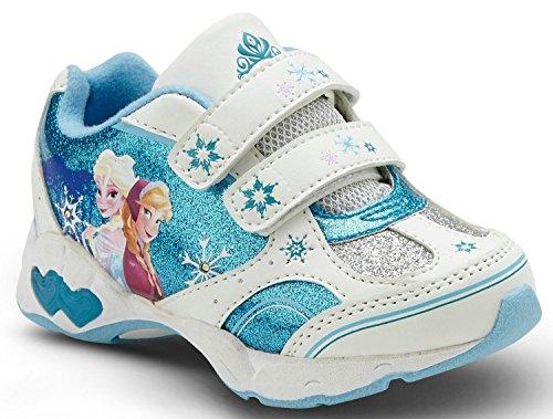 Disney Frozen Sneaker Toddler Girl'S Shoes - Light Up, Blue/White front-988304