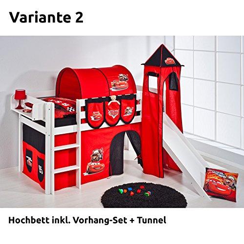 Hochbett Spielbett JELLE Disney Cars mit Turm, Rutsche und Vorhang, weiß, Variante 2
