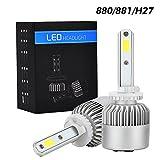Tencasi 2PCS 880 881 H27 LED Headlight Bulbs Kit S2 Series 72W 8000LM 6500K Cool White Lamp LED Conversion Kits Super Bright with COB LED CHIPS - 1 Year Warranty (Tamaño: 880 (881/H27))