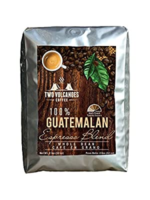 Two Volcanoes Gourmet Coffee - Guatemala Dark Roast Espresso Blend - Organic Whole Bean & Ground Coffee. From The Best Guatemalan Arabica & Robusta Roasted Beans - Rare Coffee Gift !