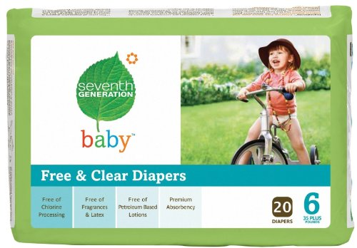 Seventh Generation Free & Clear Diapers, Stage 6, 35 Plus Pounds, 20 Count per Pack (Case of 4) - 1