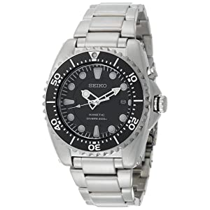 Click to buy Seiko Watches for Men: SKA371 Kinetic Dive Silver-Tone Watch from Amazon!