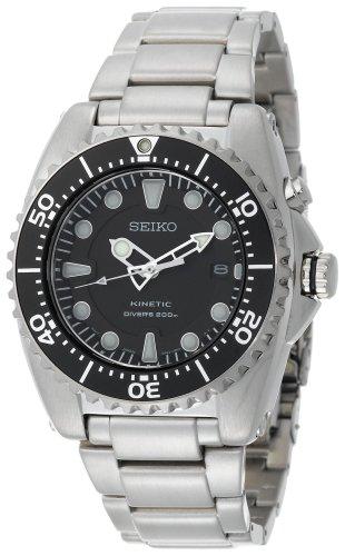 Seiko Men's SKA371 Kinetic Dive Silver-Tone Watch