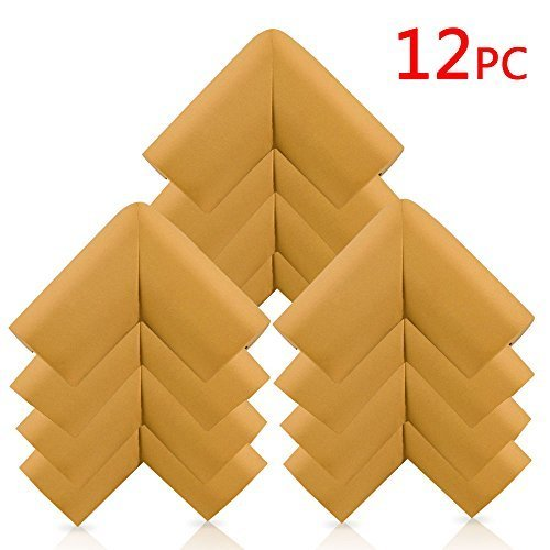 KaLe-Baby-Anti-collision-Furniture-Safety-Corner-Bumpers-Edge-Corner-Guards-Spongy-Protective-Set-With-4-Free-Adhesive-Tapes-Per-Pack-12-Packs-Tan-Color