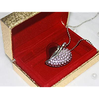 Anyusb032C Fancy Jewellery Studded Pink Heart Shape Pen Drive (8 Gb) + Exclusive Hand Made Gift Box