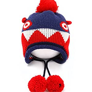 Bling2Bling Autumn & Winter Baby Kids Unisex Earmuff Wool Hat Warm Cap with A Dinosaur Shape Desgin +A Switch Sticker as A Gift