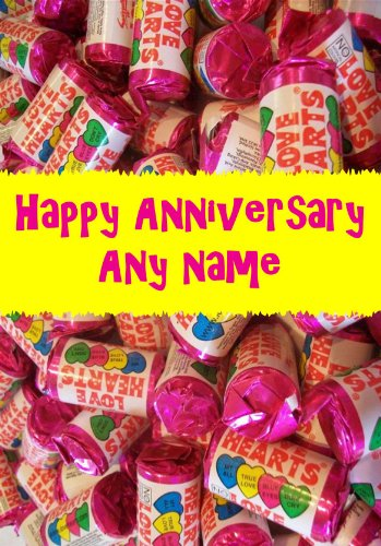 LOVE HEART SWEETS ROMANTIC PERSONALISED ANNIVERSARY CARD