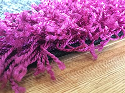 Helsinki Funky Dark Pink, Black & Grey Thick Soft Touch Shaggy Rugs 1852 - 4 Sizes Available