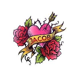 I Love Jacob Inked Temporary Tattoo Pack - 6 Tats per Pack