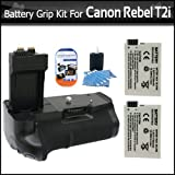 Battery Grip With 2 Extra Replacement LP-E8 Batteries For Rebel T2i/ EOS 550D T3i, T4i Digital SLR Bundle
