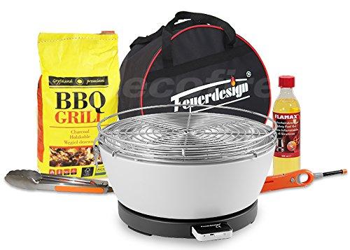 Rauchfreier Holzkohle Tischgrill VESUVIO v. Feuerdesign – Cremeweiss, im Super Pack mit viel Grill-Zubehör jetzt kaufen