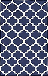 Blue Wool Rug Contemporary Design 6-Foot x 9-Foot Hand-Made Trellis Carpet