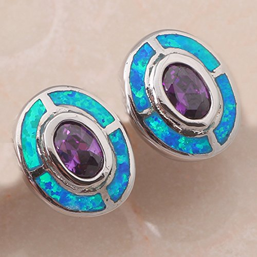 chokushop-nobby-amethyst-crystal-design-retail-blue-fire-opal-925-silver-stud-earrings-fashionl-jewe