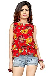 Trendif Red Poly Georgette Floral Print Party Wear Desinger Crop Top