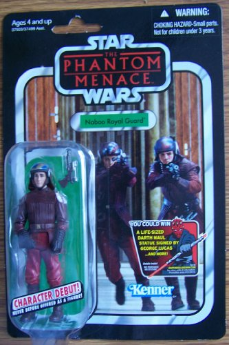 "Hasbro Year 2011 Star Wars Vintage Kenner Reproduction ""The Phantom Menace"" Series 4 Inch Tall Action Figure - NABOO ROYAL GUARD with Blaster Pistol - 1"