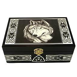 Celtic Wolf Box Handmade by Artist Melanie Fuller for Dragon Star Creations LR2995