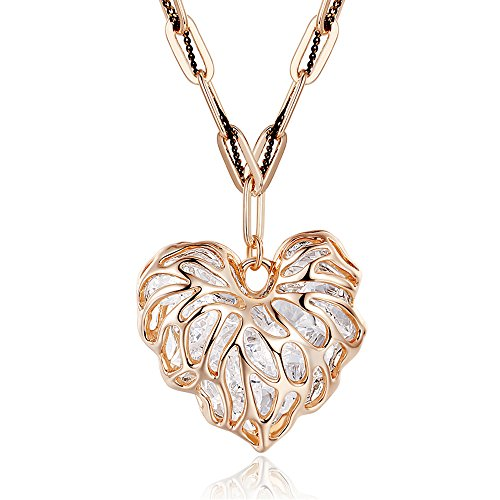 Winter's Secret Double Love Alloy Crystal Exquisite Hollow-out Heart Rose Gold Sweater Chain Necklace