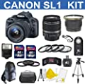 Canon EOS Rebel SL1 18 MP CMOS Digital SLR Full HD 1080 Video Body with EF-S 18-55mm IS STM Lens With 58mm High Definition Wide Angle Lens + Macro Close-Up Set + Auto Slave Flash + Filter Kit with 24GB Deluxe Accessory Bundle