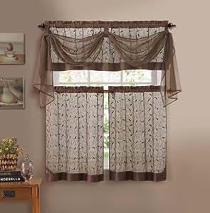 Buy Vine Embroidered Kitchen Window Curtain Set 1 Valance