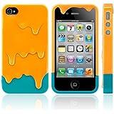 Melt Ice Cream Detachable Hard Case for iPhone 4S/iPhone 4 (Orange+Green)