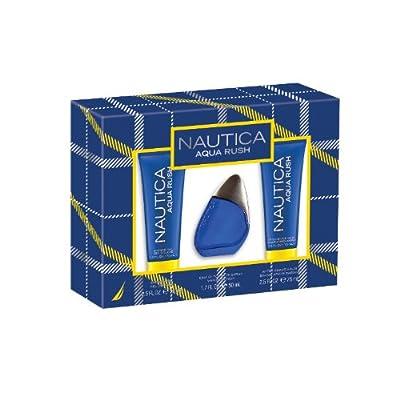 Nautica Aqua Rush 3 Piece Gift Set (Eau de Toilette Spray, After Shave Balm, Shower Gel)
