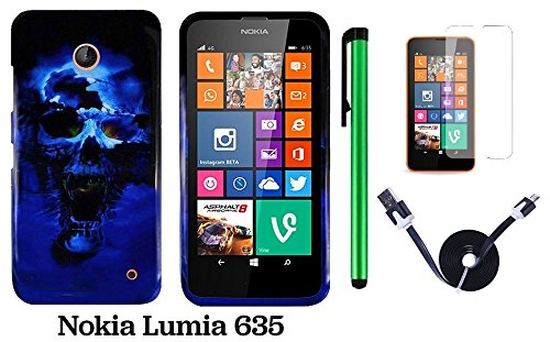 Nokia Lumia 635 Premium Pretty Design Protector Hard Cover Case (Us Carrier: T-Mobile, Metropcs, And At&T) + Screen Protector Film + 1 Of 1M/3Feet Stylish Micro Usb To Usb 2.0 Data Sync Charger Flat Cable + 1 Of New Assorted Color Metal Stylus Touch Scree