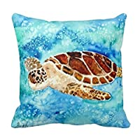 Sea Turtle Square Throw Pillow Case Cushion Cover Fashion Home Decorative Pillowcase Cotton Polyester Pillow Cover(45cm x 45cm, Two Sides) by MagicPillow