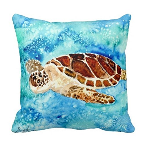 Sea Turtle Square Throw Pillow Case Cushion Cover Fashion Home Decorative Pillowcase Cotton Polyester Pillow Cover(45cm x 45cm, Two Sides)