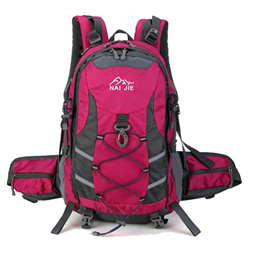 Zerd Nylon Outdoor Waterproof Mountaineering Camping Travel Backpack 40L Rose front-152079