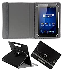 ACM ROTATING 360° LEATHER FLIP CASE FOR ICE SPECTRA PLUS + 3G TABLET STAND COVER HOLDER BLACK