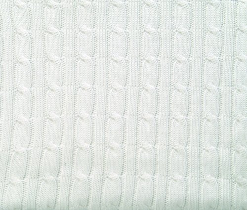 Scene Weaver Pickles Classic 100% Cotton Cable Knit Baby Blanket, White