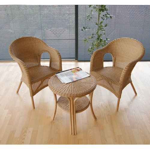 Home & Garden Direct Conservatory Dining Tucson Rattan Bistro Set 2 Armchairs With Coffee Table