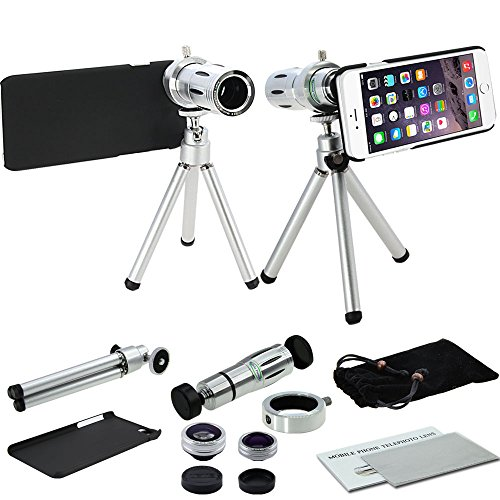MobilePioneer 4 in 1 Camera Lens Kit includes 12x Black Telephoto Manual Focus Camera Lens with Tripod / 3 Quick-Connect Lens Solution Fisheye Lens / Macro Lens / Wide-angle Lens / 1 Universal Holder / 1 Mini Tripod / 1 Protection Case / 1 Microfiber Digital Cleaner for iPhone 6 4.7inch (Silver)